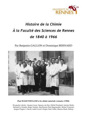 Histoire de la Chimie À la Faculté des - Université de Rennes 1