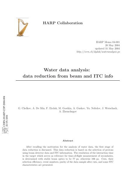 Water data analysis: data reduction from beam and ITC info