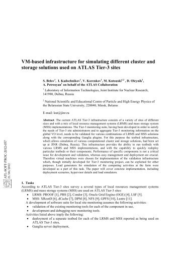 VM-based infrastructure for simulating different cluster and storage ...