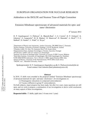 INTC-2012-005/INTC-P-275-ADD-1 - CERN Document Server
