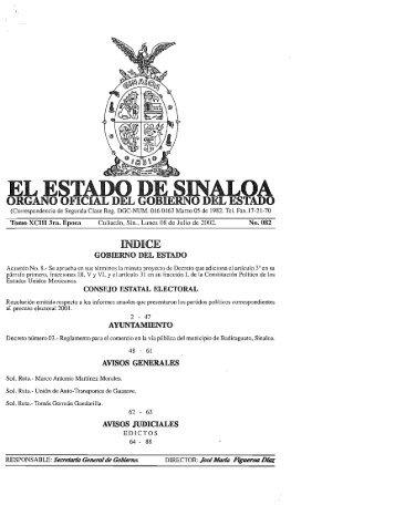 EL E~TADO DE SINALOA - Gobierno del Estado de Sinaloa