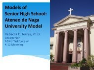 Models of Senior High School: Ateneo de Naga University Model
