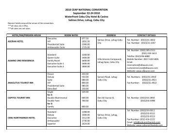 2010 CEAP NATIONAL CONVENTION September 22-24 2010 ...