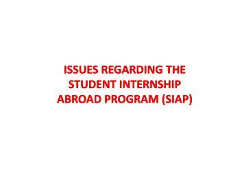 issues regarding the student internship abroad program
