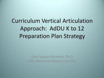 AdDU Curriculum Vertical Articulation Approach