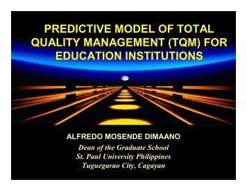 PREDICTIVE MODEL OF TOTAL QUALITY MANAGEMENT (TQM ...