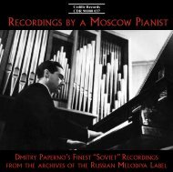 RECORDINGS BY A MOSCOW PIANIST - Cedille Records