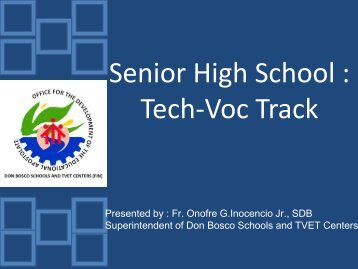 Senior High School Tech-Voc Track - Catholic Educational ...