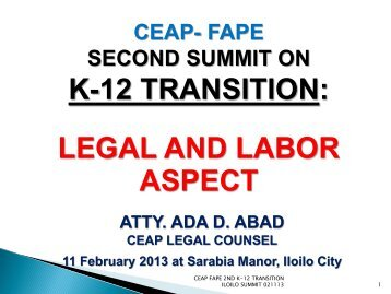 Legal Aspects and Labour Implications