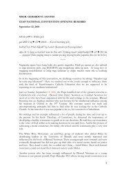 1 MSGR. GERARDO O. SANTOS CEAP NATIONAL CONVENTION ...