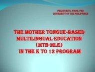 (MTB-MLE) in the k to 12 program