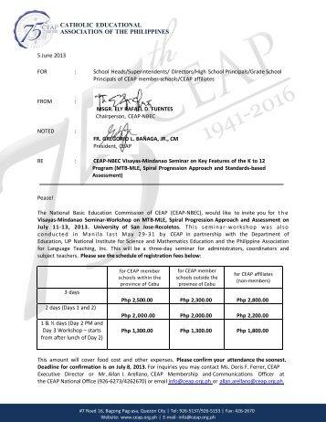 Invitation - Catholic Educational Association of the Philippines