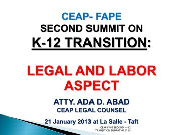 Day 1 - Legal and Labor Aspects - Atty Ada Abad