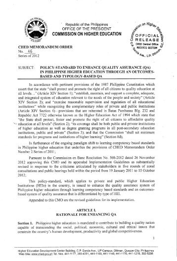 CHED Memo Order 46, s. 2012 - Catholic Educational Association of ...