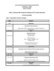 forum programme - Catholic Educational Association of the Philippines