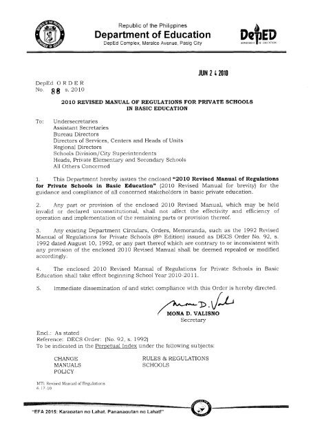 2010 Revised Manual of Regulations for Private Schools in Basic