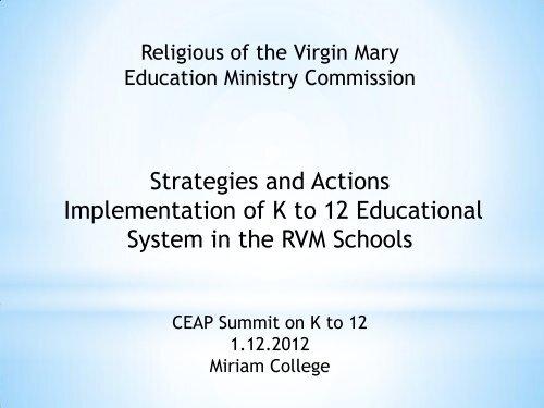 Sr. Marissa Viri RVM Strategies and Actions