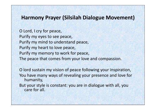 Harmony Prayer (Silsilah Dialogue Movement) [Compatibility Mode]
