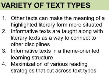 VARIETY OF TEXT TYPES