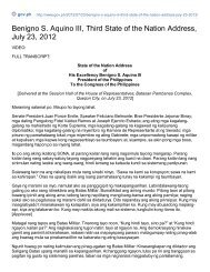 Benigno S. Aquino III, Third State of the Nation Address, July 23, 2012