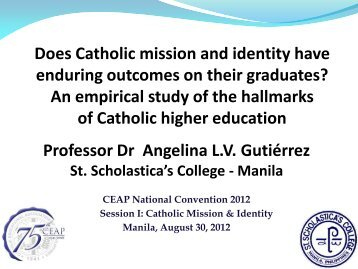 Does Catholic mission and identity have enduring outcomes on their ...