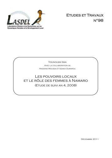 Etudes et Travaux n°98 Les pouvoirs locaux et le rôle des ... - Lasdel