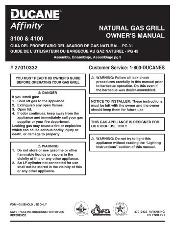 NatUral GaS Grill oWNEr'S maNUal 3100 & 4100 - Weber.com
