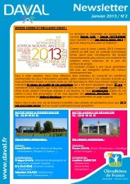DAVAL Newsletter N°2 - Janvier 2013 - Daval Sarl