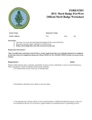 FORESTRY BYU Merit Badge PowWow Official Merit Badge ...