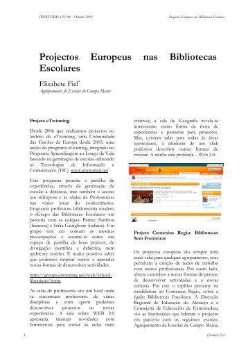 Projectos Europeus nas Bibliotecas Escolares - cefopna