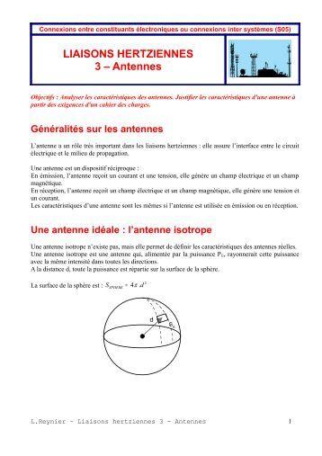 LIAISONS HERTZIENNES 3 – Antennes - Cours et TD d'électronique