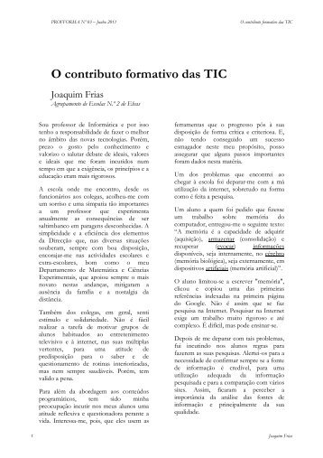 O contributo formativo das TIC - cefopna