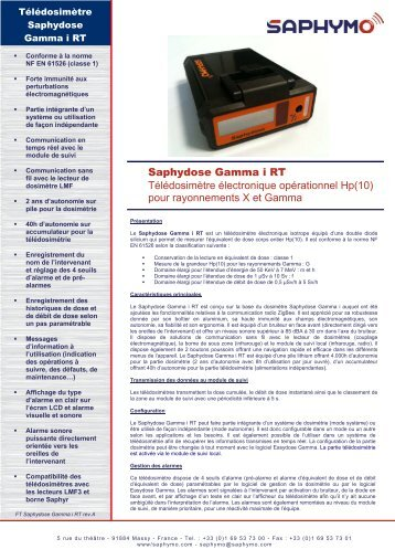 Fiche produit Télédosimètre Saphydose Gamma i RT - Saphymo