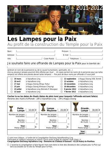 Les Lampes pour la Paix - Temple pour la Paix