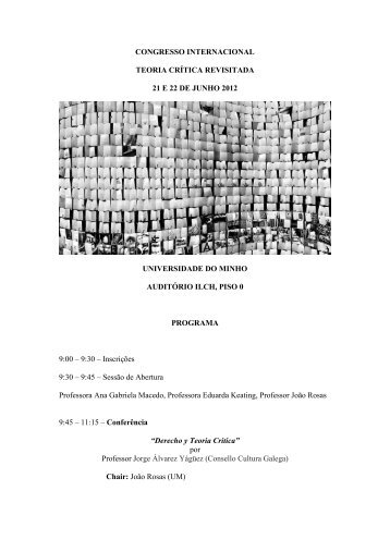 Teoria Crítica Revisitada - cehum - Universidade do Minho
