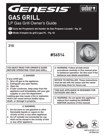 Weber Gas Grills 6550001 Use And Care Manual