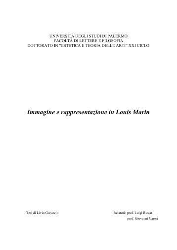 Immagine e rappresentazione in Louis Marin - Università di Palermo