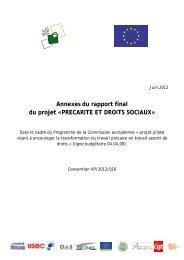Annexes du rapport final du projet «PRECARITE ... - UNI-EST le PLIE