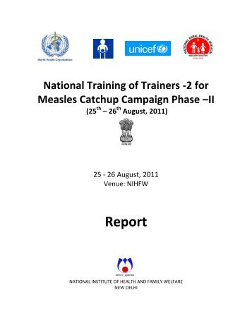 Training of Trainers of Medical Officers in Immunisation - National ...
