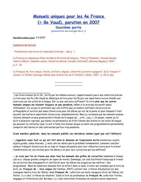 Manuels Uniques Pour Les 4e France Svms