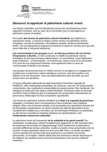 120831-Arbeitspapier_Lebendiges Kultuerbe_FR - Unesco