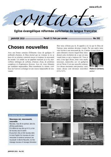 Contacts, janvier 2010 - Église réformée zurichoise de langue ...