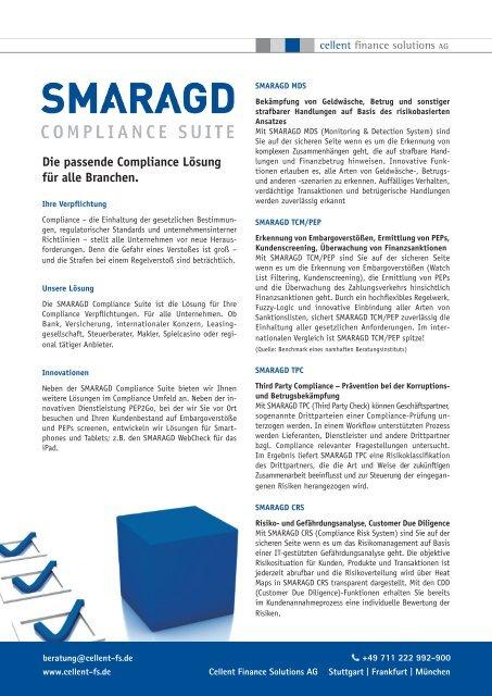 Smaragd Compliance Suite Cellent Finance Solutions Ag