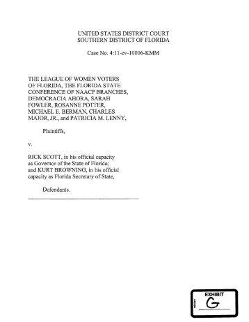 League of Women Voters v. Scott case files - The Florida Senate