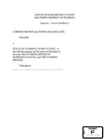 Exhibit F – Diaz-Balart v. Scott case files - The Florida Senate