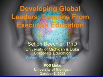 Developing Global Leaders: Lessons From Executive Education