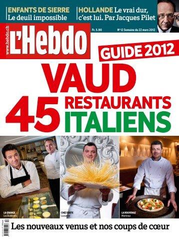 Vaud: 45 restaurants italiens - presstourism.ch