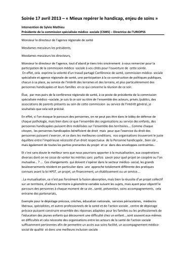 Intervention Sylvie Mathieu, Présidente CCMS ... - ARS Lorraine