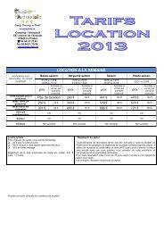 tarifs 2013 location - L'Artaudois