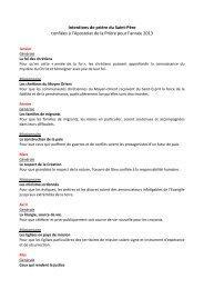 Les Intentions du Pape - 2013 - Apostleship of Prayer